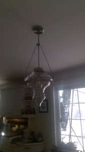 Glass & Brushed Nickle Pendant Light