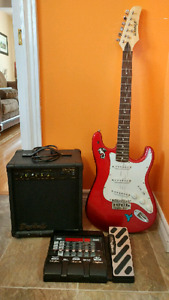 Guitar, amp, effects pedal.