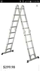 17' multipurpose ladder with scaffold plank