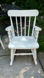 Childs Wooden Table, Chair and Rocker