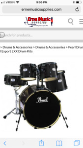 Jet Black Pearl Export Series 5piece kit with Sabian cymbal pack