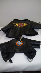 Pair of His and Hers Teddy Bear Motorcycle Jackets
