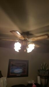 Ceiling fan with 4 lamps
