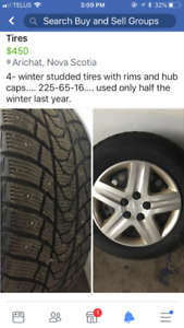 Tires, rims and hub caps for sale