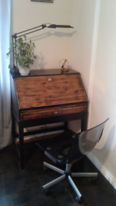 Bureau, writing desk with drawer and chair, set
