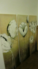 """Really nice """"tryptic"""" of original oil paintings with floral design."""