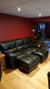 Leather Couch and Ottomans