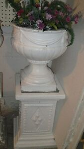 Classic english style solid concrete urn with stand, 2 SETS!!!