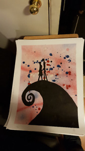 Nightmare Before Christmas Original Art on 18x24 Paper by LeBach