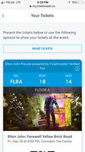 Elton John. September 28. Floor seats