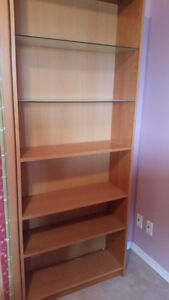 Bookcase, wood and glass shelves