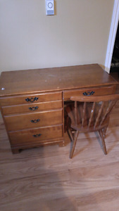 Wooden antique desk and chair