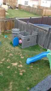 Play castle with built in slide/ blue and green slide and more