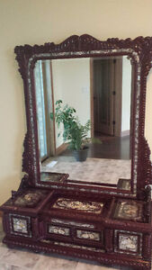 Solid mahogany wood hand carved vanity with mirror