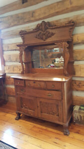 Antique Dining Room Hutch, Solid Rich Grained Oak.