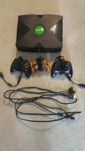 Original Xbox with 3 controllers (can be modded for free)