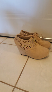 Perforated wedge booties size 9