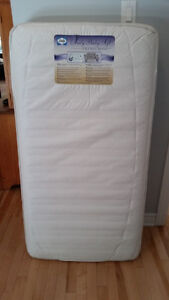 White Ikea Culliver crib AND Sealy Baby Soft Mattress