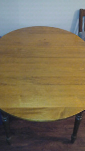 Wood kitchen table, lamp shades,  side table