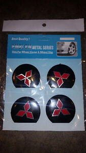 Set of 4 stickers for alloy wheel or hub cap - different cars
