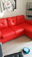 Divan sectionnel rouge