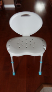 White Bath Seat c/w Back Support which folds down for easy stora