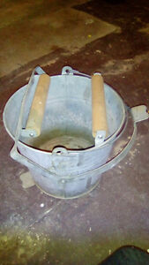 Vintage galvanized metal mop bucket