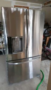 "LG stainless steel 36"" refrigerator"