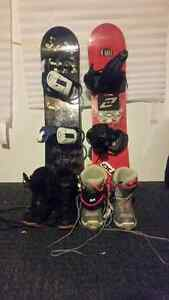 Kids snowboards and boots