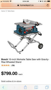 10in 4 HP Bosch Table Saw w/ Gravity Rise Stand