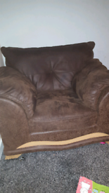2 suede brown chairs