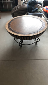 African coffee table with reptile skin