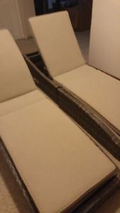 2 brand new wicker fold up  patio loungers