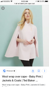 Ted baker pink cape coat jacket