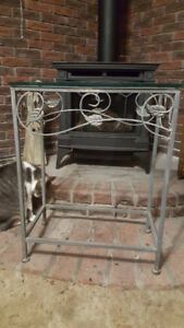Small aluminum frame and glass console table