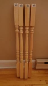 "4Barreaux/Poteaux pin NEUFS 4,5 x4,5 cm/1,77""x1,77""L89 cm/35,04"""