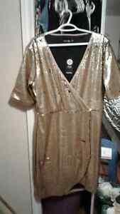 Women's XL Gold SEQUIN WRAP Dress