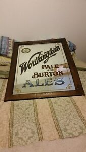 Antique Pub Mirror with Wooden Frame