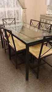 ikea glass top dining table with 6 chairs