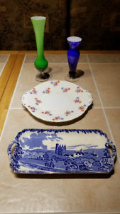 Vintage Glass and Plate Group ADDED Heavy Bowl