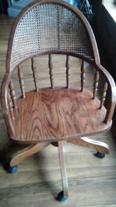 solid oak desk chair