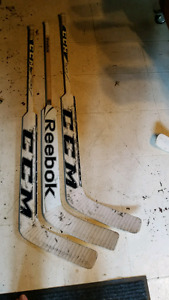 "3 used GOALIE Sticks 26"" paddles LH"