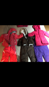 2 full bins of 0-24months, 2t girl clothing and snow suits