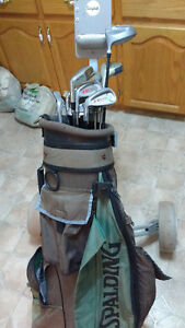 Left hand golf clubs and golf bag and Golf cart