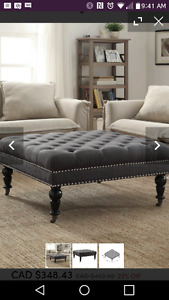 Tufted ottoman $250 charcoal/dark grey/cream/coffee table