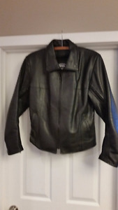 Gorgeous Black Leather Motorcycle Jacket - Ladies Size 12