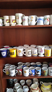 Big Collection of collectible porcelain mugs.