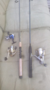 2 new fishing rods, 3 reels & 1 tackle box with some lures