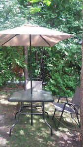 Patio set - table with umbrella and 2 chairs like new!