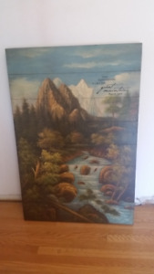 Rustic style Painting Mountains Psalm 3:36Approx 35 x 24 inches